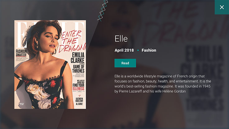 Elle magazine featured on Dreamliner touch screen monitor
