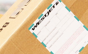WestJet shipping tag on a package