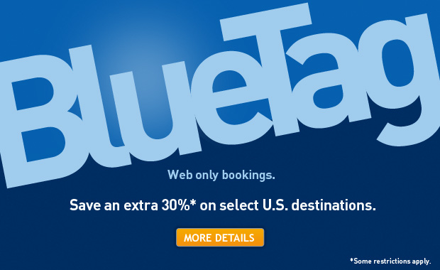 Blue Tag. Web only bookings. Save an extra 30%* on select U.S. destinations. *Some restrictions apply. Click for more details.