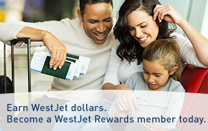 Earn WestJet dollars. Become a WestJet Rewards member today.