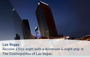 Receive a free night with a minimum 4-night stay at the Cosmopolitan of Las Vegas.