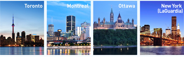 Flights between Toronto and Montreal, Ottawa and New York (LaGuardia)