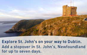 Explore St. John's on your way to Dublin. Add a stopover in St. John's, Newfoundland for up to seven days.