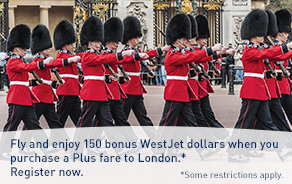 Feel like royalty with 150 bonus WestJet dollars when you purchase a Plus fare to London.*