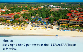 Save up to $840 per room at the IBEROSTAR Tucan in Mexico.