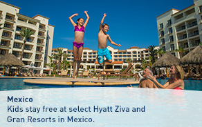 Kids stay free at select Hyatt Ziva and Gran Resorts in Mexico.
