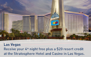 Receive your 4th night free plus a $20 resort credit at the Stratosphere Hotel and Casino in Las Vegas.