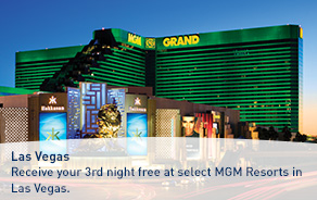 Receive your 3rd night free at select MGM Resorts in Las Vegas.