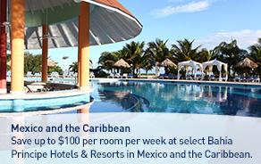 Save up to $100 at select Bahia Principe Hotels & Resorts in Mexico and the Caribbean.