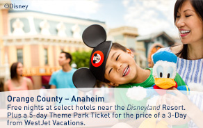Free nights at select hotels near the Disneyland Resort. Plus a 5-day Theme Park Ticket for the price of a 3-Day from WestJet Vacations.