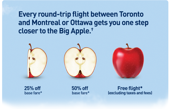 Every round-trip flight between Toronto and Montreal or Ottawa gets you on step closer to the Big Apple.