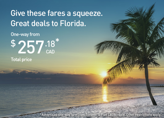 Give these fares a squeeze. Great deals to Florida.