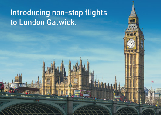 Introducing non-stop flights to London Gatwick from Toronto, Vancouver, Calgary, Edmonton, Winnipeg and St. John's Newfoundland.