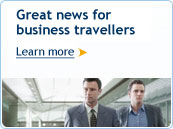 Great news for business travellers.  Learn more.