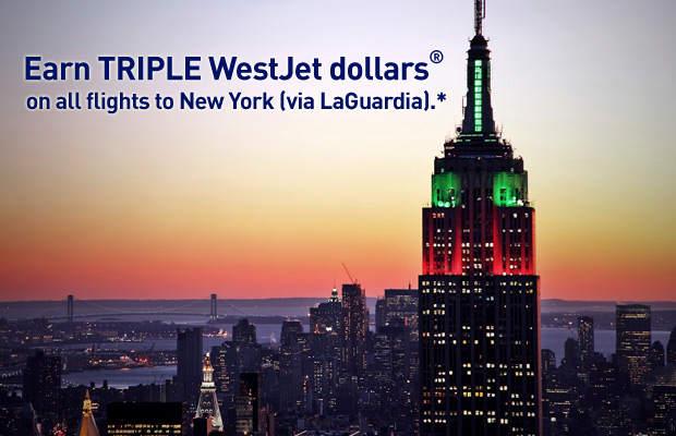 Earn TRIPLE WestJet dollars® on flights to New York (via LaGuardia).