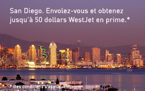 San Diego. Fly and enjoy up to 50 bonus WestJet dollars.*