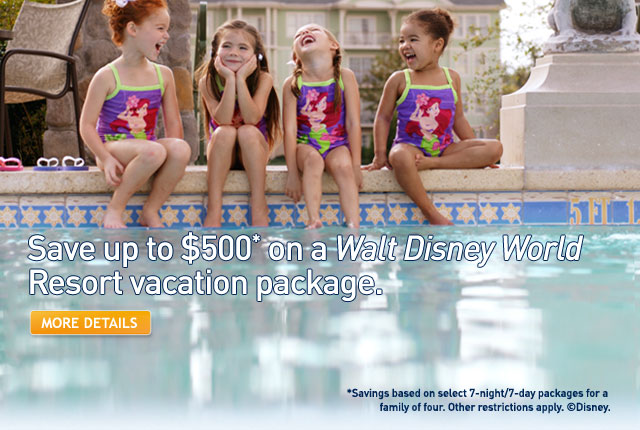 Save up to $500* on a Walt Disney World Resort vacation package.