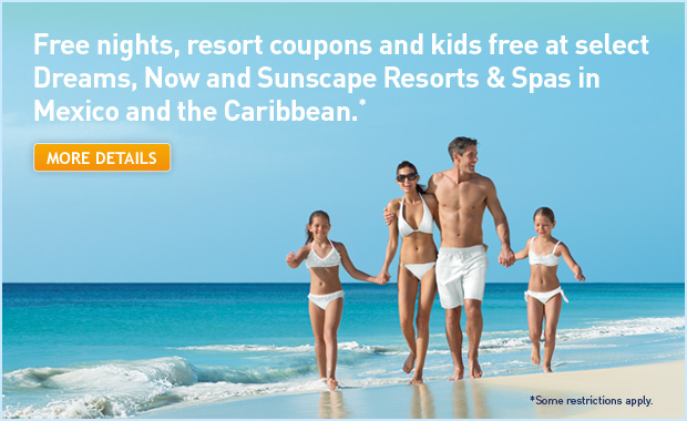 Receive every 3rd night free, resort coupons and kids free in Mexico and the Caribbean.