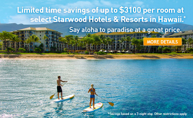 Save up to $3100 at select Starwood Hotels & Resorts.