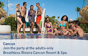 Join the party at the adults-only Breathless Riviera Cancun Resort & Spa.