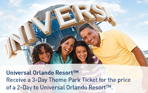 Receive a 3-Day Theme Park Ticket for the price of a 2-Day to Universal Orlando Resort™.