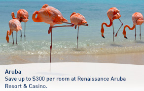 Save up to $300 per room at Renaissance Aruba Resort & Casino.