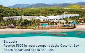 Receive $500 in resort coupons at the Coconut Bay Beach Resort and Spa in St. Lucia.