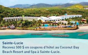 Recevez 500 $ en coupons d'hôtel au Coconut Bay Beach Resort and Spa à Sainte-Lucie.