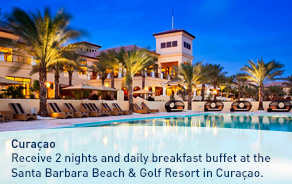 Receive 2 nights and daily breakfast buffet at the Santa Barbara Beach & Golf Resort in Curaçao.