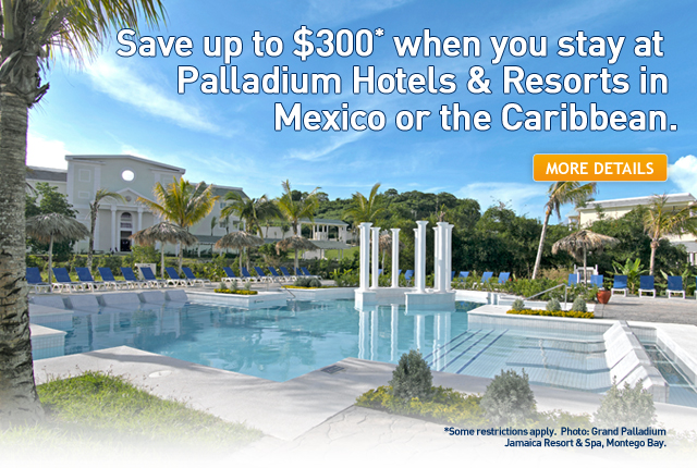 Save up to $350 at Palladium Hotels & Resorts.