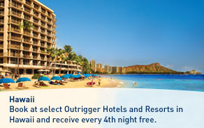 Book at select Outrigger Hotels and Resorts in Hawaii and receive every 4th night free.