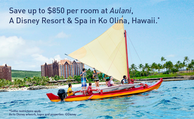 Save up to $850 per room at Aulani, A Disney Resort & Spa in Ko Olina, Hawaii.