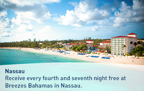 Receive every fourth and seventh night free at Breezes Bahamas in Nassau.