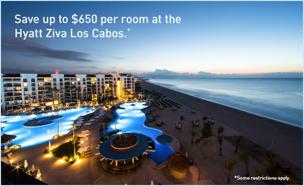 Save up to $650 per room at the Hyatt Ziva Los Cabos.
