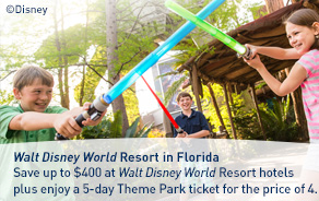 Save up to 35% at Walt Disney World Resort hotels plus enjoy a 5-day Theme Park ticket for the price of 4.