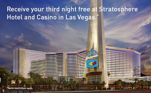 Receive your third night free at Stratosphere Hotel and Casino in Las Vegas.