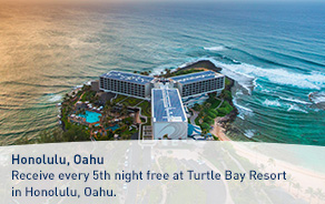 Receive every 5th night free at Turtle Bay Resort in Honolulu, Oahu.