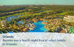 Receive every fourth night free at select hotels in Orlando.