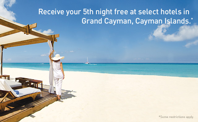 Receive your 5th night free at select hotels in Grand Cayman, Cayman Islands.