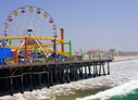 View from the beach of the Santa Monica pier in Los Angeles