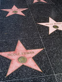 Celebrity names shown on the Hollywood Walk of Fame